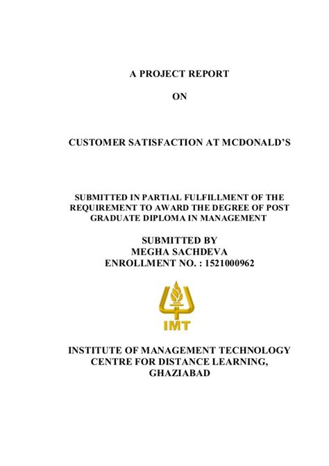 Airtel Project Report Mba by Mcdonald Mba Project