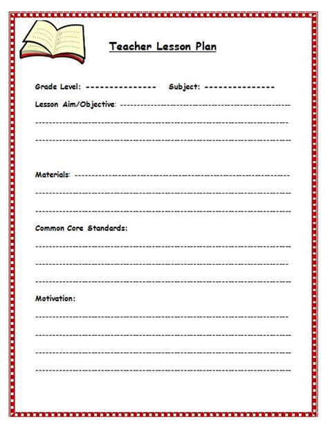 lesson plan templates for elementary teachers free lesson plan template lesson plan template for