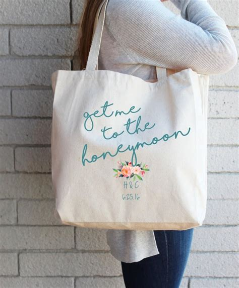 personalized tote bags for bridal shower gift for to be custom tote bag honeymoon bag