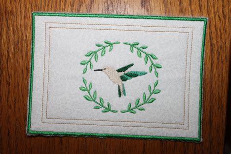 mug rug embroidery design mug rug hummingbird coaster machine embroidery design in the hoop