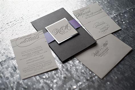 chicago custom wedding invitations silver and purple wedding invitations mirror paper custom wedding invitations letterpress