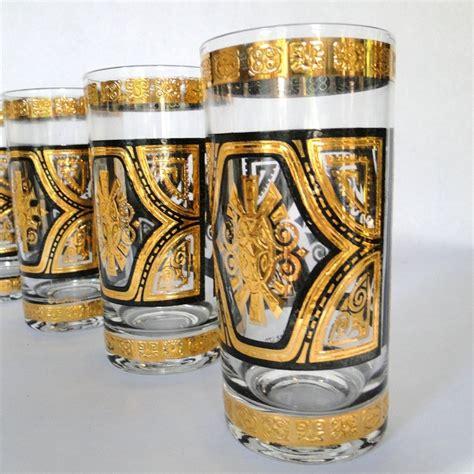 vintage barware reserved culver ltd 22karat tumblers set zodiac aztec giftware brooklyn ny lavish
