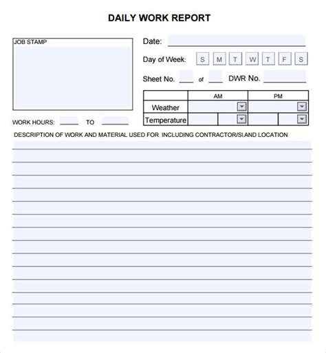 daily report template helloalive