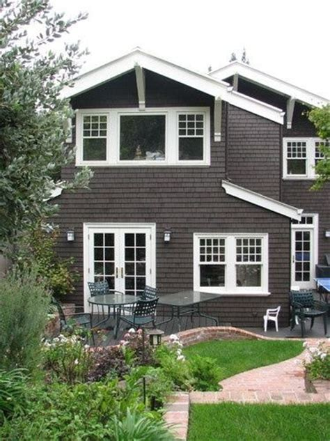 cedar siding and white trim exterior home makeover ideas pin