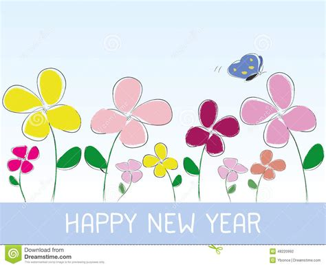 happy new year flower happy new year flower style stock vector image 48220992