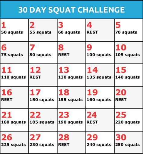 30 Day Squat Challenge Calendar Printable » Calendar