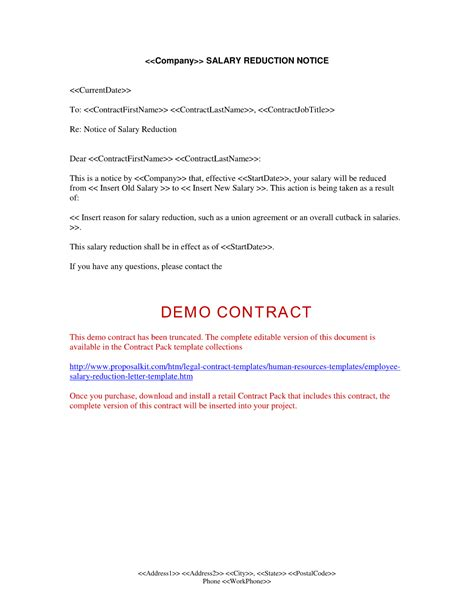 employee salary reduction letter human resources letters