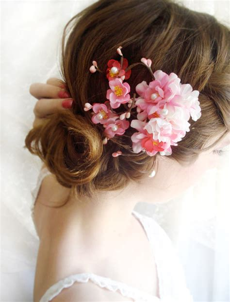 Wedding Hair Accessories Pink by Pink Bridal Hair Accessories Cherry Blossom Hair