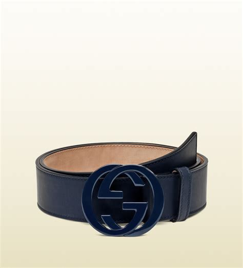 Gucci 2014 Blue gucci leather belt with interlocking g buckle in blue for lyst