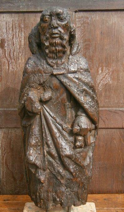 rare  century english medieval carved oak figure
