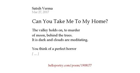 can you take me to my home by satsih verma hello poetry