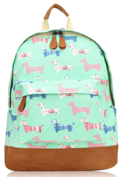 Dooneys Sausage The New Bag by New Canvas Sausage Poodle Print Backpack School Travel