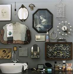 Bathroom Wall Decorating Ideas Retro Bathroom Idea With Grey Wall Paint Plus Completed