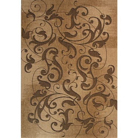 Lowes Indoor Outdoor Rug Shop Kannapolis Rectangular Brown Transitional Indoor Outdoor Woven Area Rug Common 8 Ft X 10