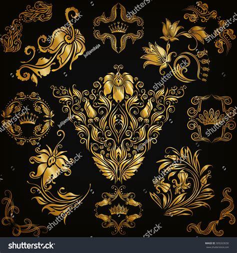 set of arabesque pattern frame border set gold damask ornaments floral elements stock vector