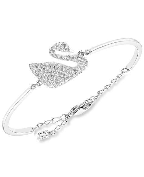 Sale Ring Handphone Swarowski Motif Malaikat swarovski rhodium plated swan bangle bracelet in silver lyst