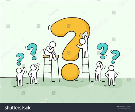 big questions from little 0571288510 sketch working little people big question stock vector 432135466 shutterstock