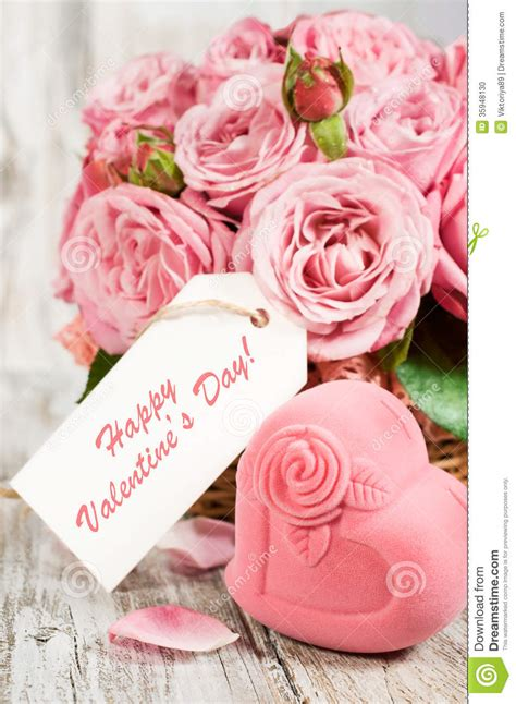 A Day With Pink by Gift Box In The Shape Of Hearts And Pink Roses With Label