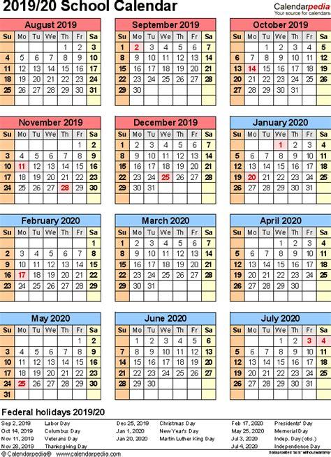 school calendars printable templates