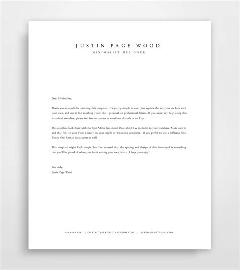 personal letterhead templates template idea