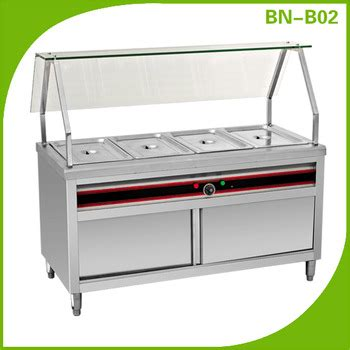 stainless steel glass top electric food warmer trolley