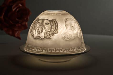 kerzenhalter porzellan weiß dome light nr 30160 motiv hunde teelichthalter windlicht