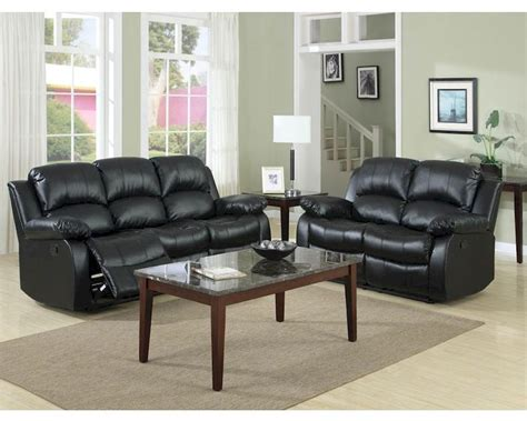 Black Reclining Sofa Set Homelegance Reclining Sofa Set Cranley In Black El 9700blkset