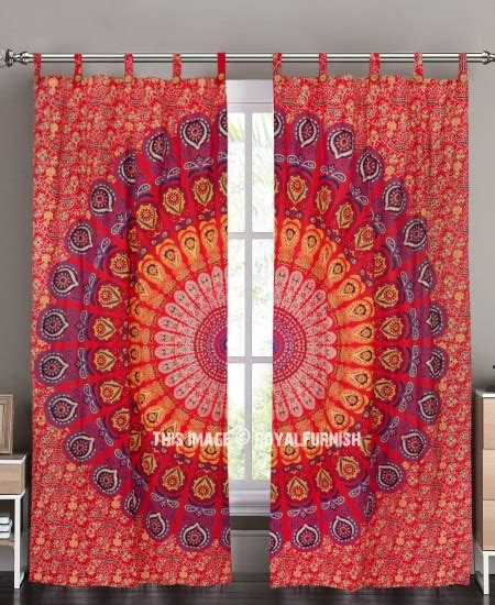 tapestry curtains sale red indian mandala window curtains cotton drape balcony