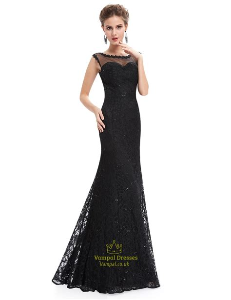 floor length black dress black floor length illusion neck prom dress with lace