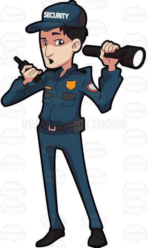 clipart a security guard talking on the radio