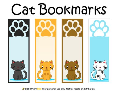 printable bookmarks for books free free printable cat bookmarks with paw prints download the