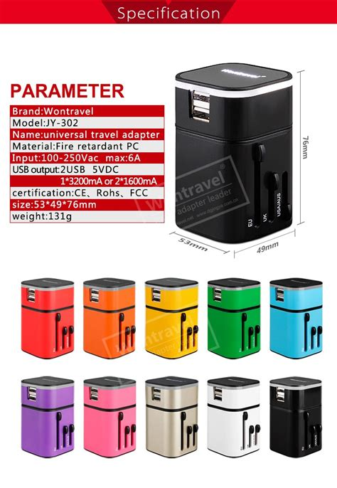 Travel Giveaways - jy 302 luminous logo world travel charger technology giveaways corporate gift set item