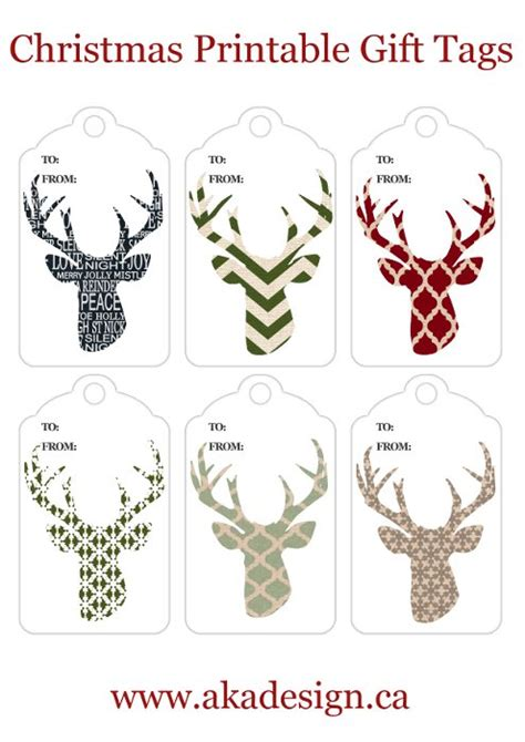 printable deer gift tags deer head silhouette printables free holiday printables