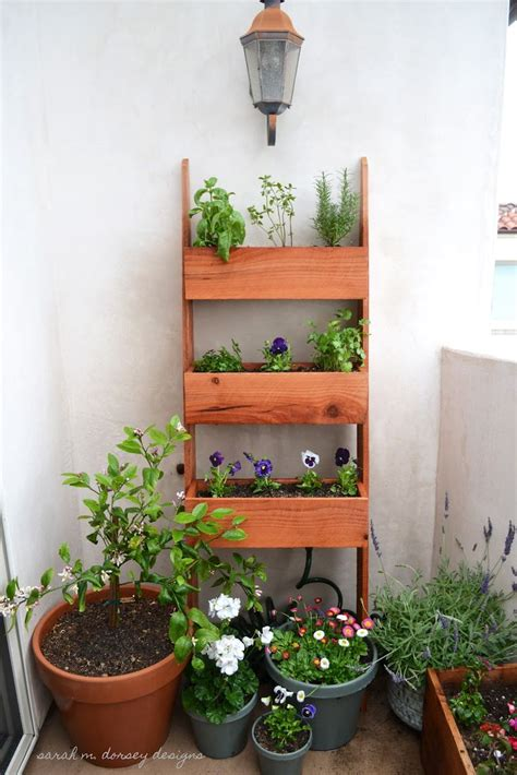 Vertical Garden Planter Boxes A Vertical Planter Made In A Leaning Ladder Style Is A