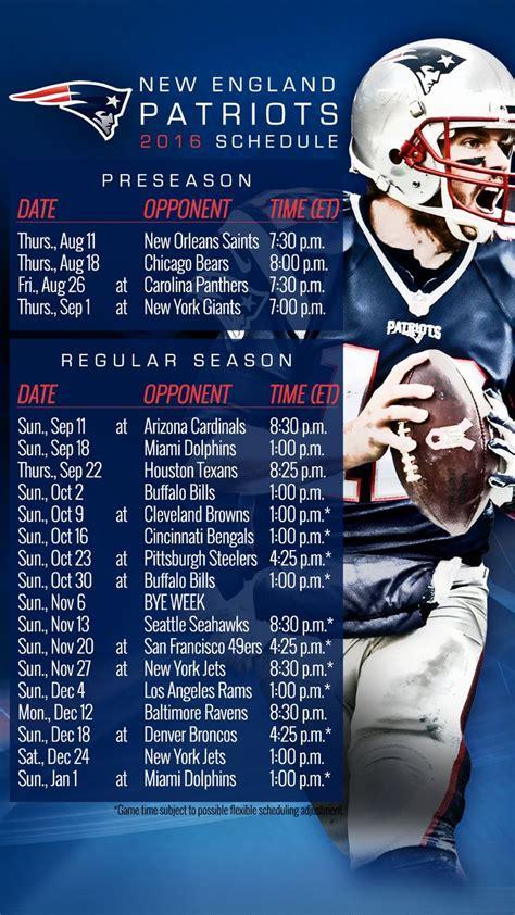 Patriots Schedule 2017 Printable