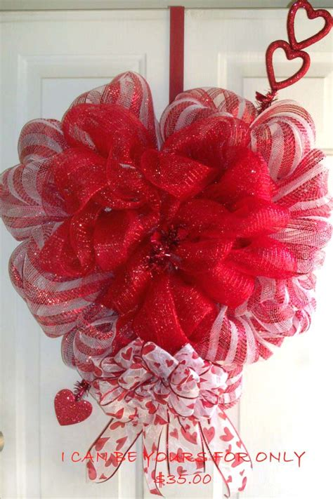 valentines mesh wreath shaped wreath trendy tree