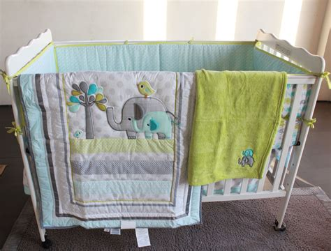 Blue And Green Elephant Crib Bedding Bedding Sets Green Elephant Crib Bedding