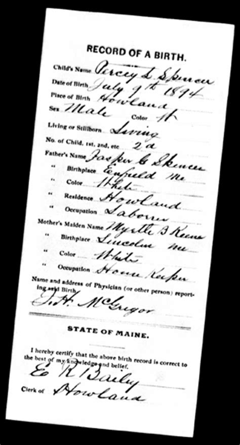 Maine Birth Records Archives The Is In The Details Researching An Inventor S Biography Lemelson Center