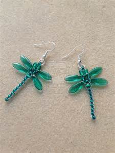 Beaded dragonfly earrings teal by whitemagicpriestess on deviantart