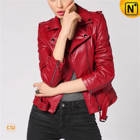 red leather motorcycle jacket red leather moto jacket for women cw650032