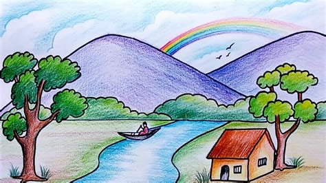 draw simple scenery  kids drawing