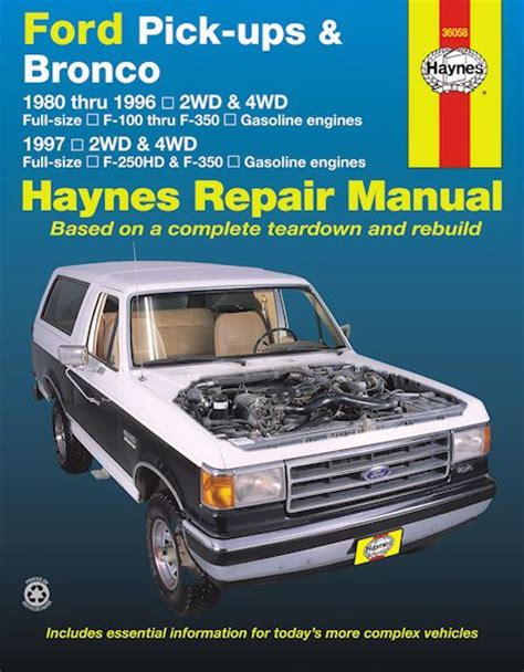 ford f100 f150 f250 f350 bronco repair manual 1980 1997