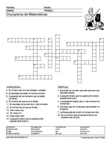 preguntas basicas sobre la revolucion mexicana crucigrama de matem 225 ticas desaf 237 os pinterest