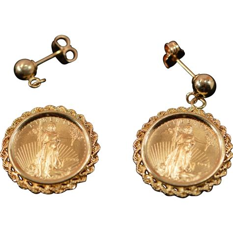 5 american eagle gold coin earrings in 14k yellow gold