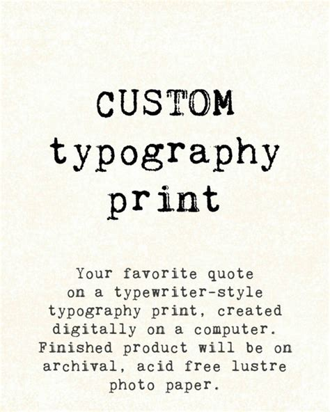 printable typography quotes custom quote print typographic typewriter by