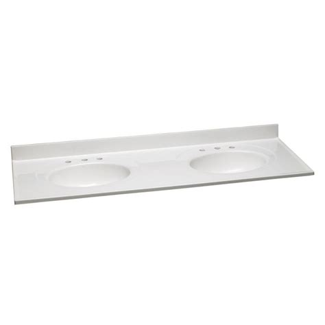 design house vanity top design house 61 in w cultured marble double vanity top in solid white and 8 in faucet spread