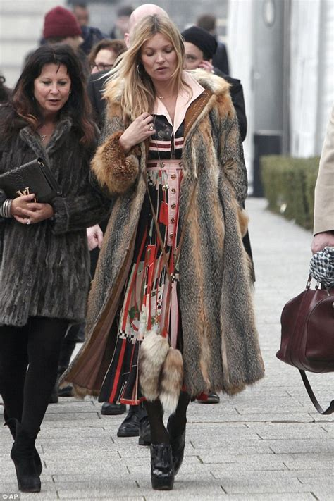 Unlike Kate Moss Is A Real Stylist by Kate Moss Wears Fur Coat For Second Day In A Row