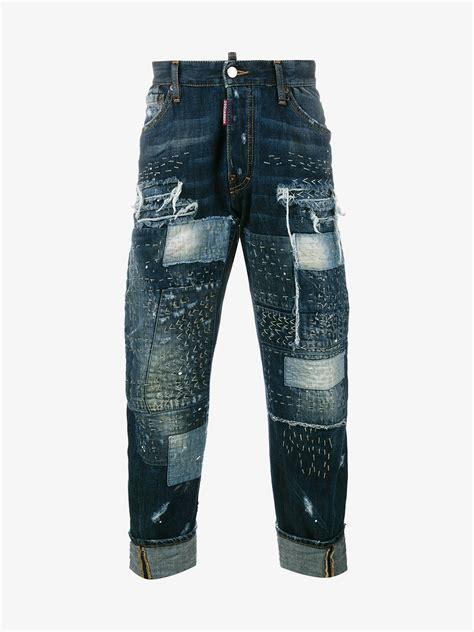 Patchwork Denim - dsquared 178 workwear stitched patchwork denim in blue