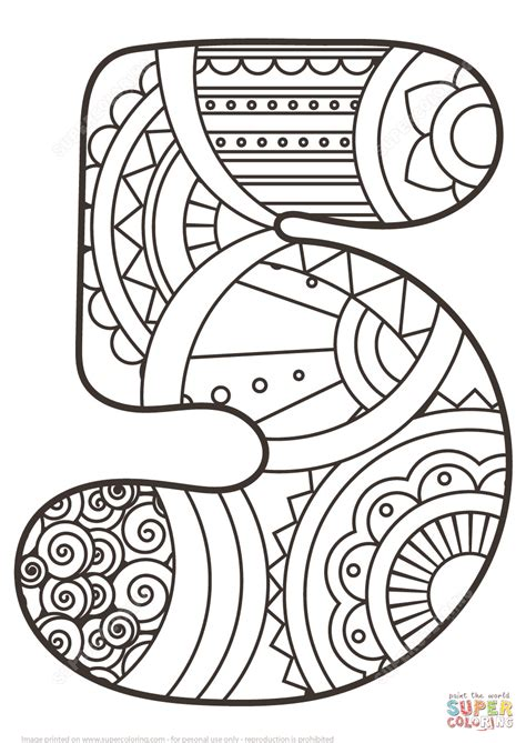 Coloring Page Number 5 by Number 5 Zentangle Coloring Page Free Printable Coloring