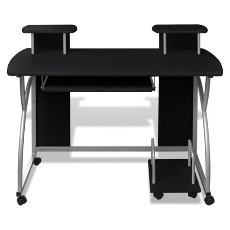 vhz office computer desk vidaxl co uk mobile computer desk pull out tray black